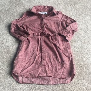 Girls Pink and Black Polka Dot Shirt Dress 2T